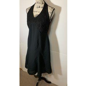 Carole Little Dresses - Halter Open Back Embroidered A-Line Dress